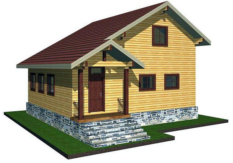 Проект дом из бруса 6х6 с мансардой и террасой